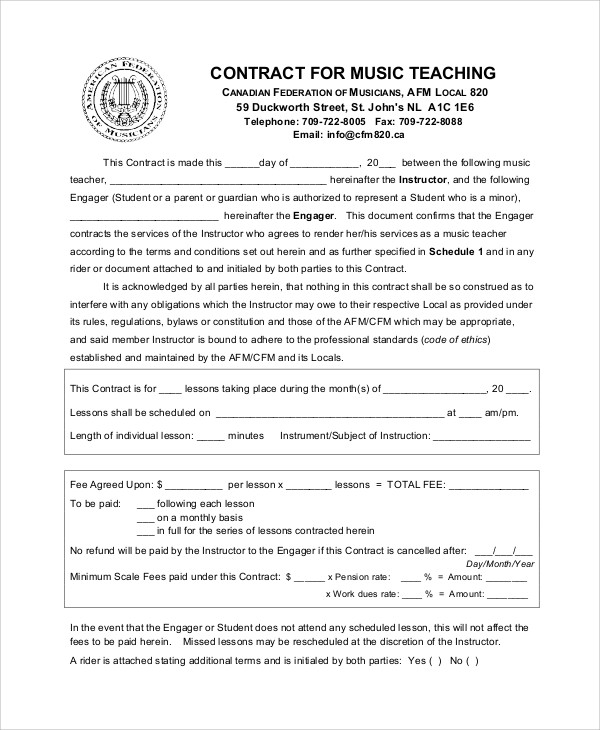 Teacher Agreement Contract Sample - 9+ Examples In Word, Pdf