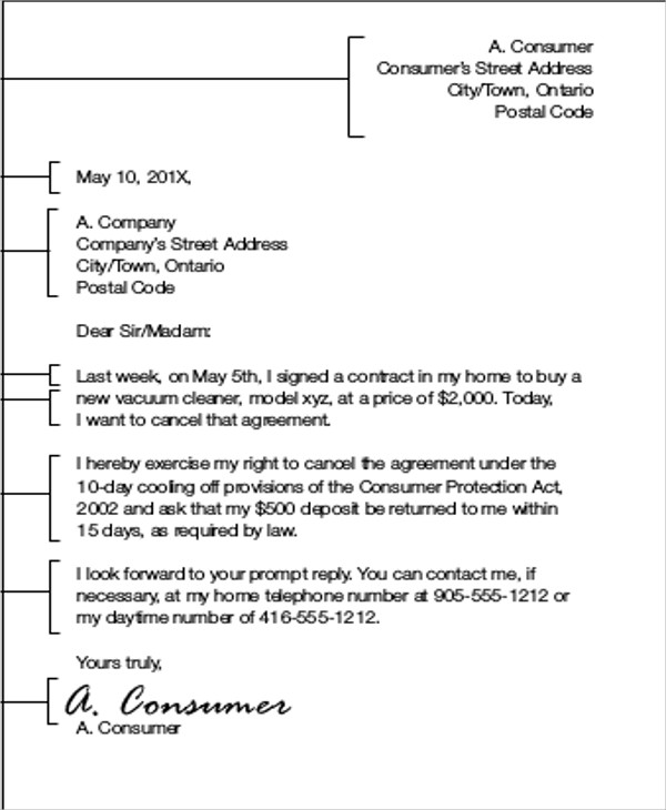 contract agreement cancellation letter