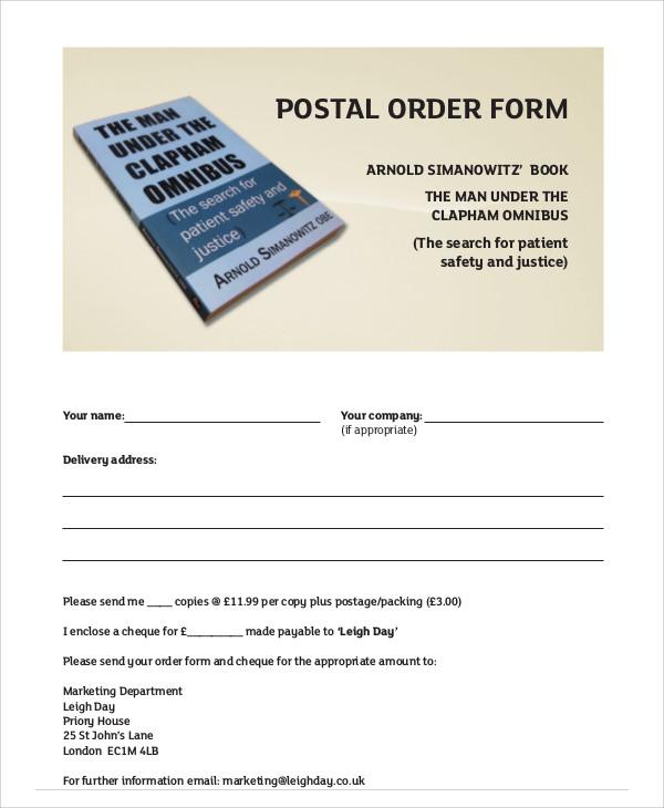 postal order form