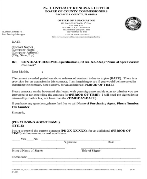 renewal of contract agreement letter