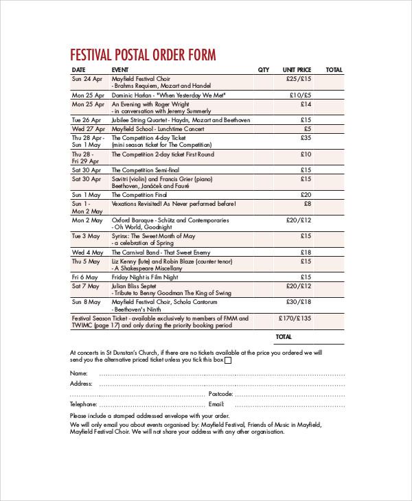 Festival-Postal-Order-Form Job Order Form Sample Pdf on sample i-9 form, sample job flyer, sample performance bond form, sample change of address form, sample work order forms, sample feedback form, sample w-9 form, sample bank reconciliation form, sample qdro form, generic purchase order form,