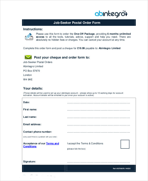 job seeker postal order form