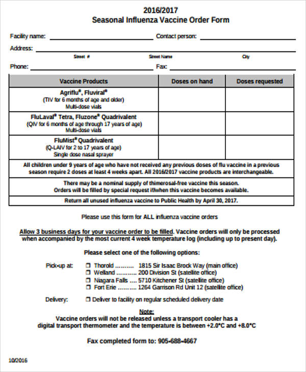 Sample Vaccine Order Form   Examples In Word Pdf