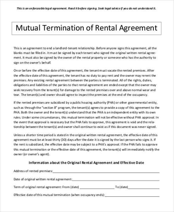 Sample Contract Termination Agreement 8 Examples in Word PDF – Mutual Agreement Contract Template