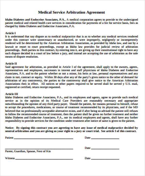 Sample arbitration agreement 9 examples in word pdf medical service arbitration agreement in pdf platinumwayz