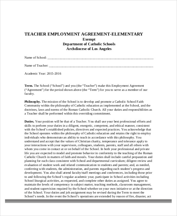 teacher employment agreement contract