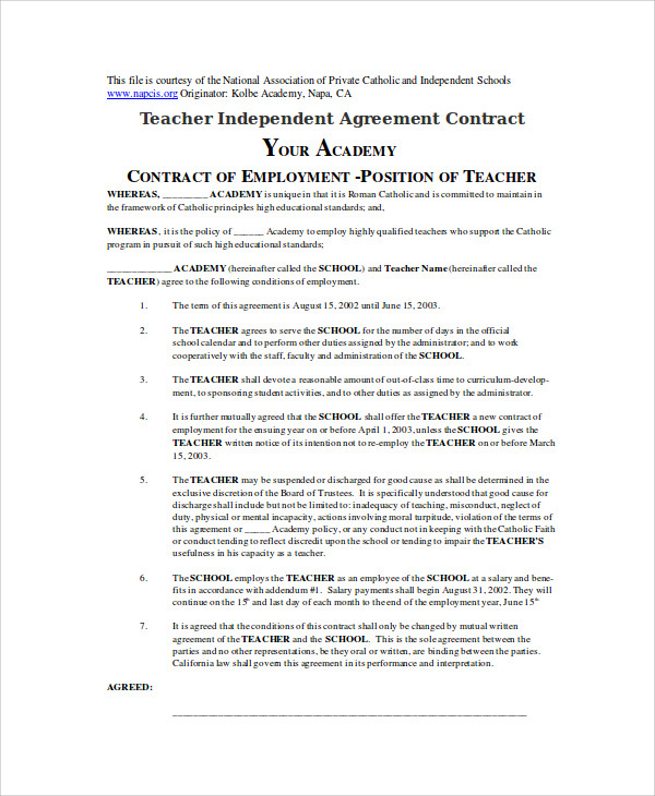 Sample Teacher Agreement Contract In Doc