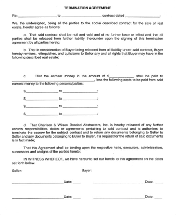 real estate contract termination agreement