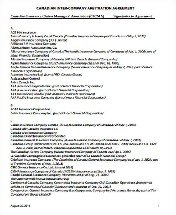 intercompany arbitration agreement