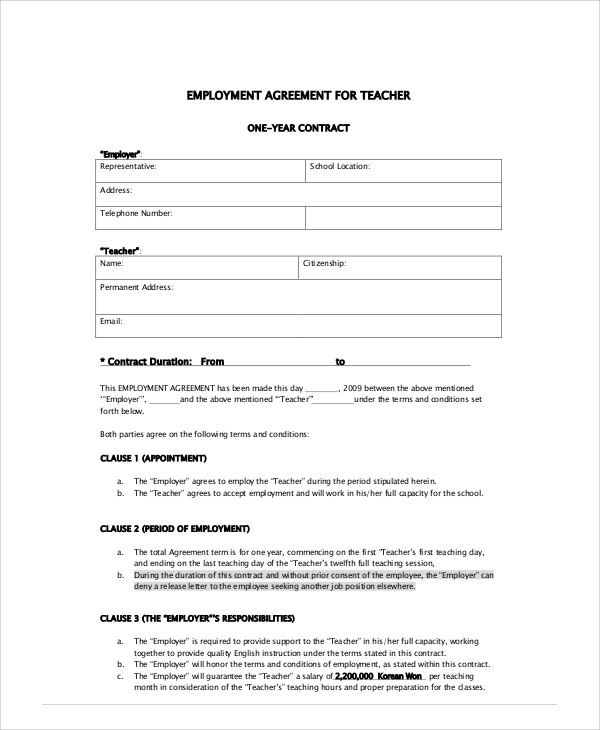 Teacher Contract Template. Teacher Employement Contract 9+ Teacher