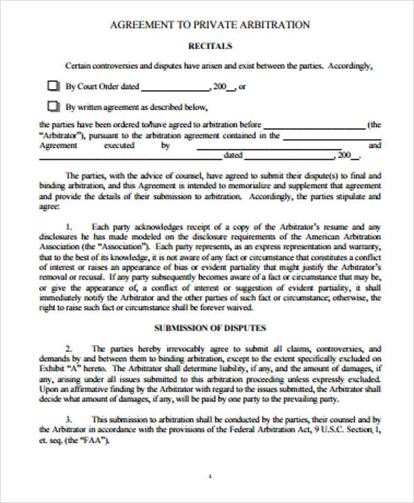 Sample arbitration agreement 9 examples in word pdf private arbitration agreement platinumwayz