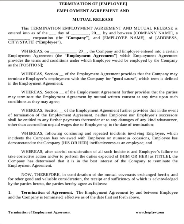 Doc500573 Employment Termination Agreement Termination – Employment Release Agreement