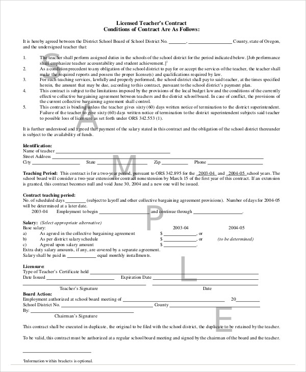 Teacher Agreement Contract Sample   Examples In Word Pdf