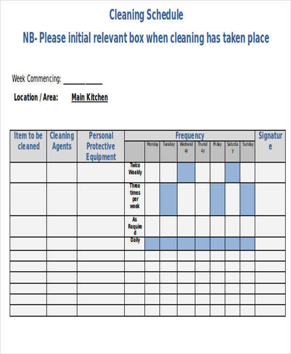 cleaning schedule sample