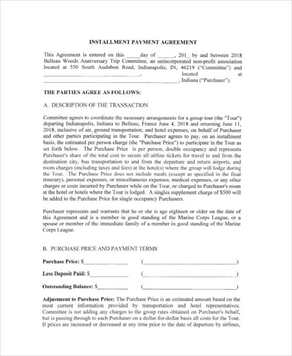 Payment Agreement Contract Sample   Examples In Word Pdf