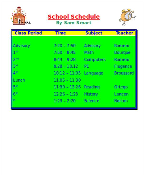 school schedule sample doc