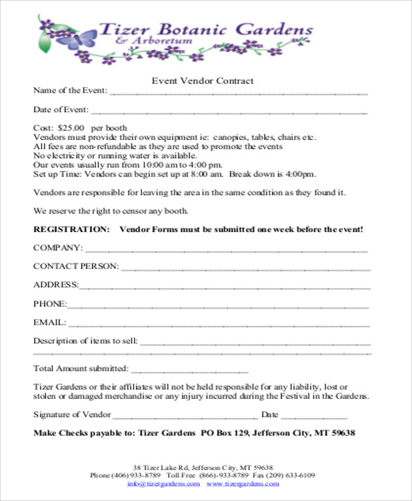 event vendor application template - 8 sample vendor contract agreements sample templates