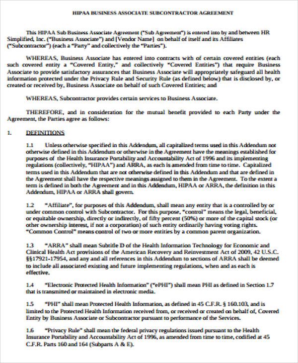 Sample Hipaa Business Associate Agreement   Examples In Word Pdf