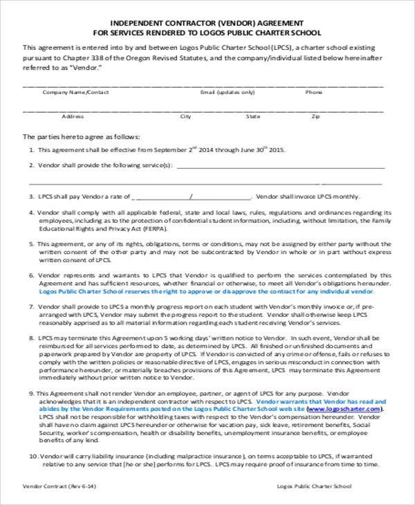 Sample Vendor Contract Agreement   Examples In Word Pdf