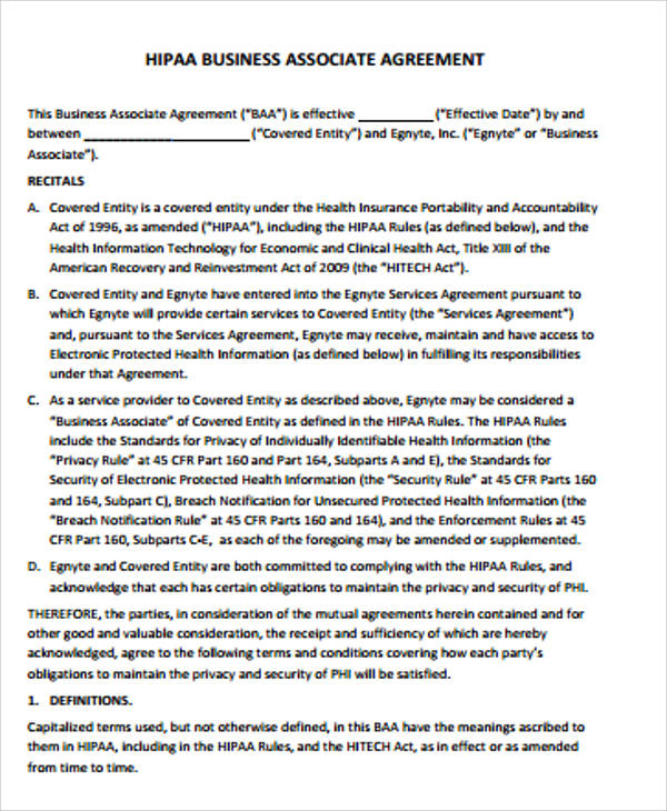 Sample Hipaa Business Associate Agreement - 9+ Examples In Word, Pdf