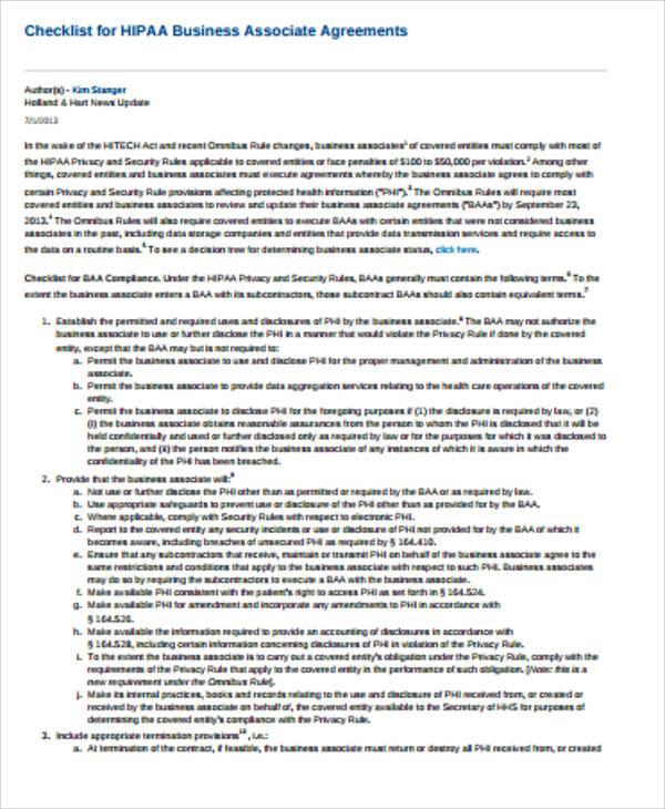 hipaa business associate agreement checklist