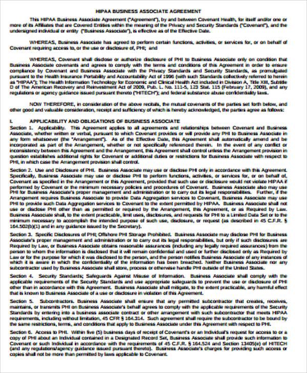 hipaa business associate agreement pdf