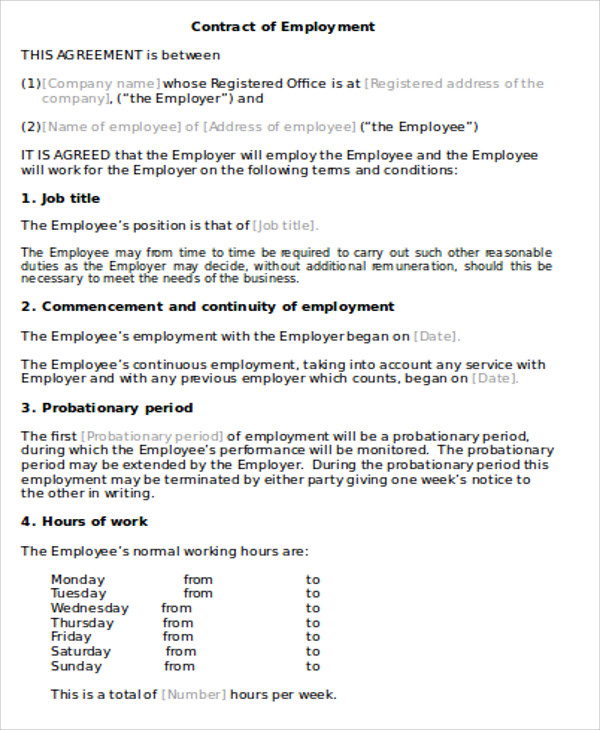 Employment Agreement Contract Sample   Examples In Word Pdf