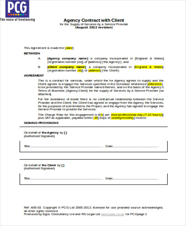 employment agency agreement contract