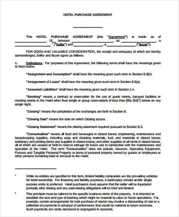 purchase agreement form for business example