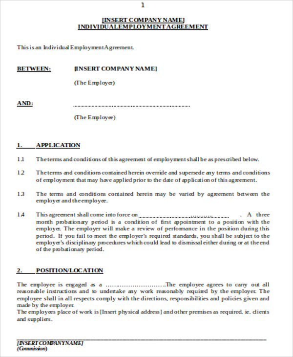 individual employment agreement contract pdf