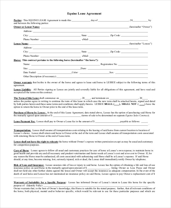 Lease Agreement Contract Sample   Examples In Word Pdf