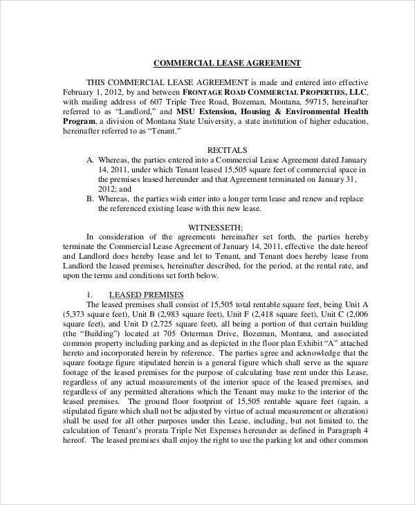 Lease Agreement Contract Sample 9 Examples in Word PDF – Lease Agreement Contract
