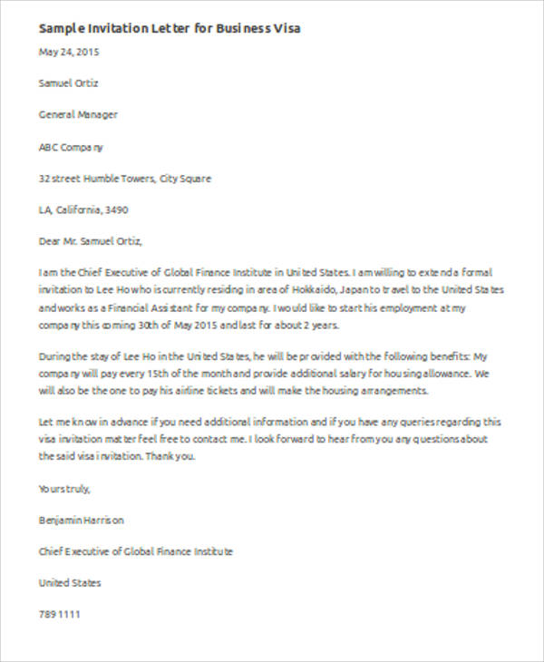 7 Sample Business Invitation Letter