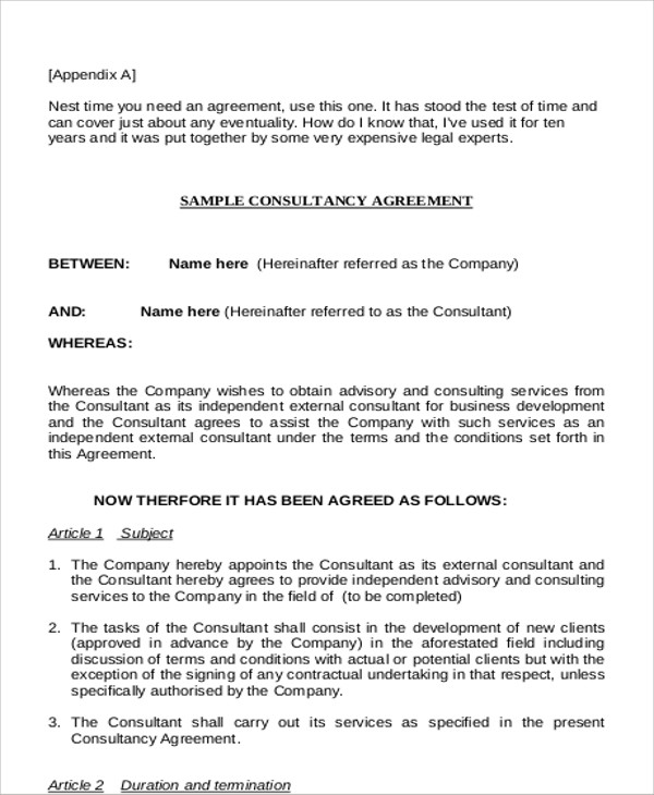 Sample Business Consultant Agreement   Examples In Word Pdf