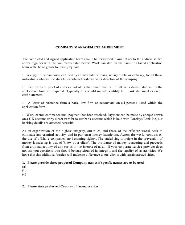 incroyable Company Business Management Agreement
