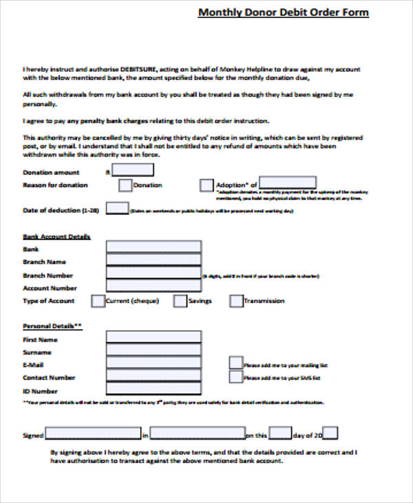 Debit Order Form Standing Order Template For Free Standing Order