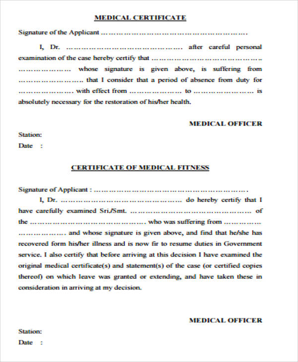 Sample medical certificate form 7 examples in word pdf medical certificate form in pdf spiritdancerdesigns Choice Image