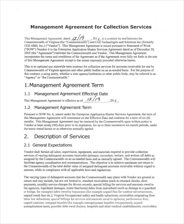 Sample Business Management Agreement   Examples In Word Pdf