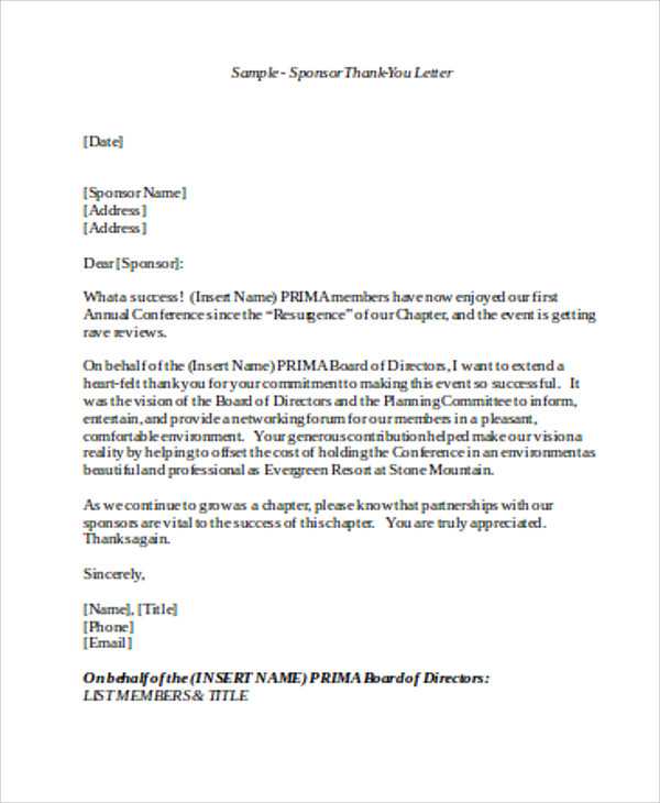 Sample Sponsorship Thank You Letter   Examples In Word Pdf