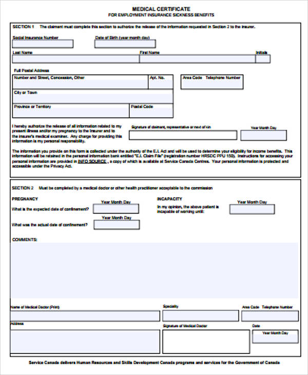 sample of medical certificate for employment