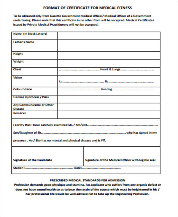 format of medical fitness certificate