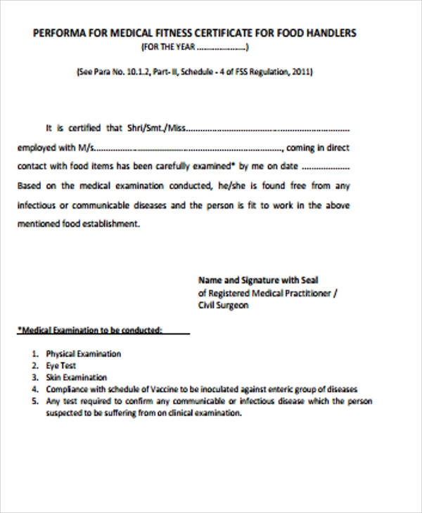 medical fitness certificate for food handlers pdf