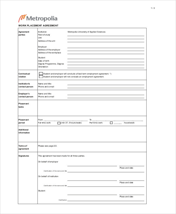 work placement contract agreement