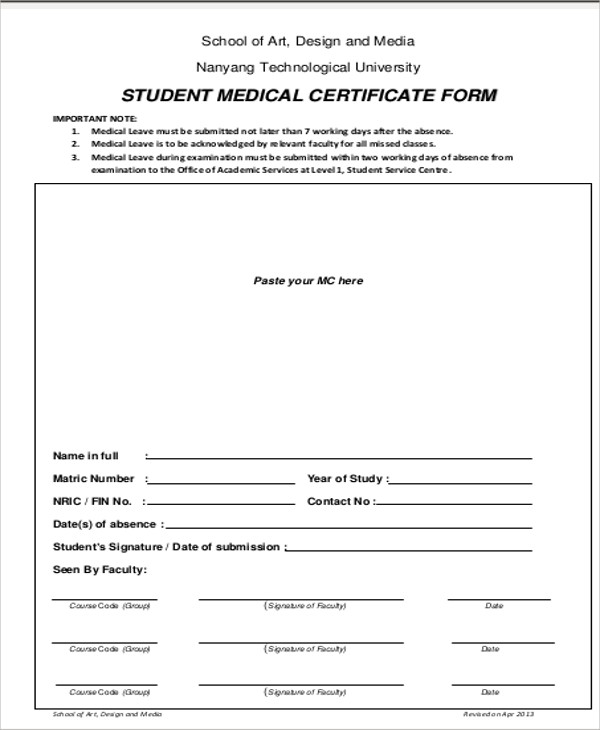 medical certificate for school sample
