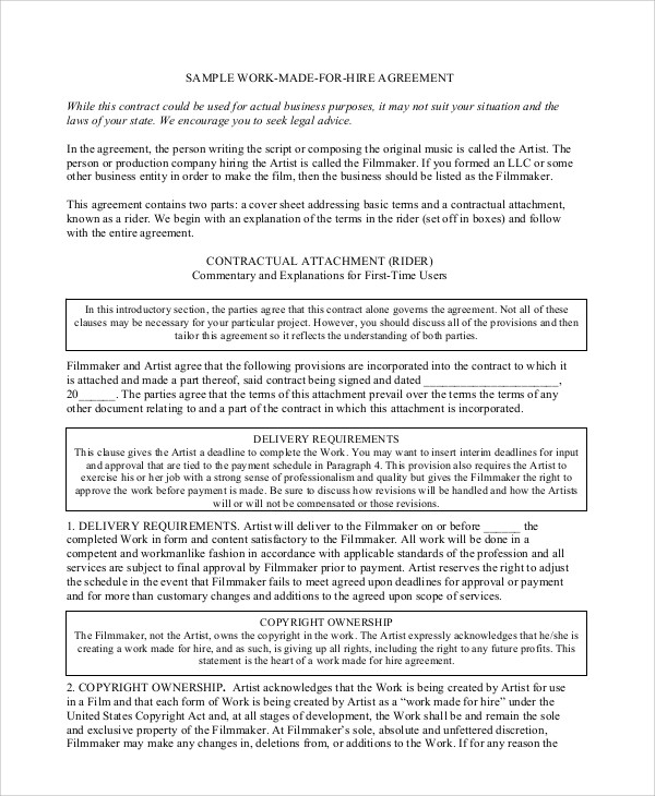 Sample Work Contract Agreement 12 Examples In Word Pdf