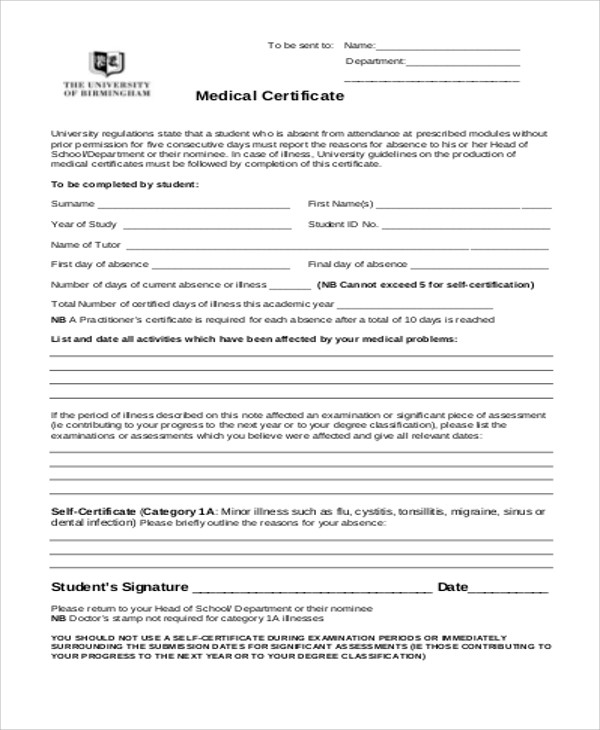 Medical Certificate Format For School