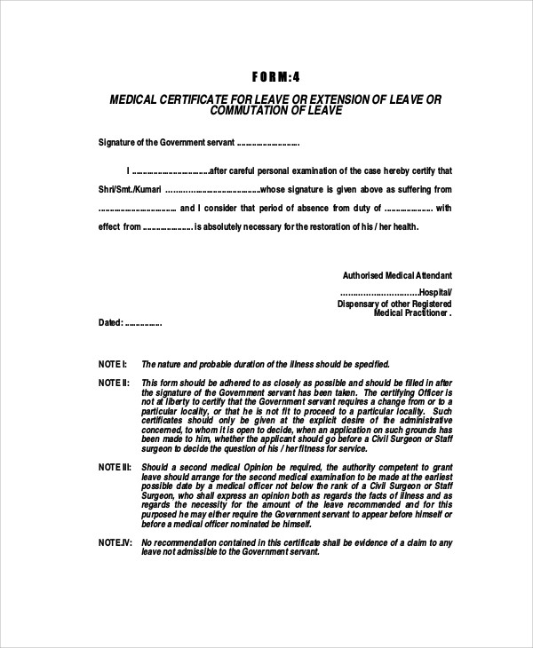 sample medical certificate for sick leave 6 examples in word pdf