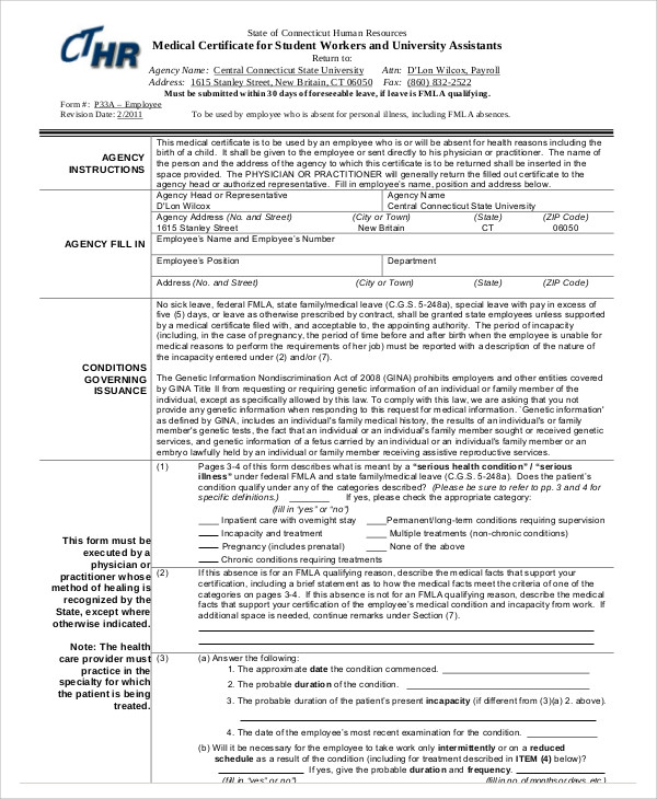 Sample medical certificate for sick leave 6 examples in word pdf medical certificate format for sick leave for student yadclub Choice Image