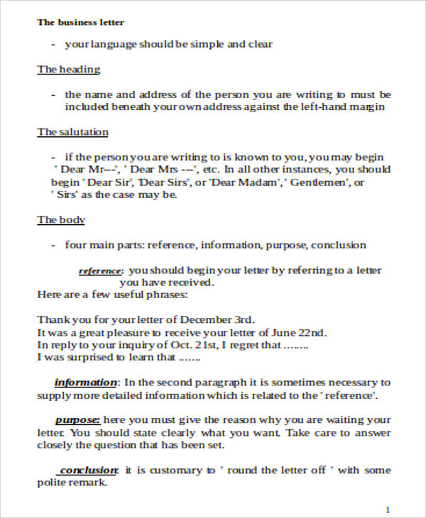 Sample Business Letter Template Word 7 Examples in Word PDF – Business Letter Template Word
