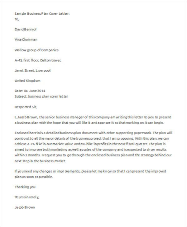 Sample Business Letter Template Word Examples In Word PDF - Business plan cover letter template